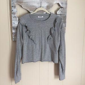 Zara Trafaluc | Gray Ruffle Cropped Pullover Med